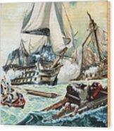The Battle Of Trafalgar Wood Print by English School