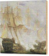 The Battle Of Trafalgar Wood Print by John Christian Schetky