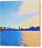 The Bay Bridge And The San Francisco Skyline Wood Print