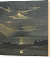 The Bay Of Naples By Moonlight With The Castel Dell'ovo Beyond Wood Print