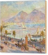 The Bay Of Naples With Vesuvius In The Background Wood Print