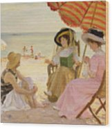 The Beach Wood Print by Alfred Victor Fournier