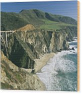 The Beach And Shoreline Along Highway 1 Wood Print