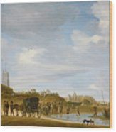 The Beach At Egmond An Zee Wood Print by Salomon van Ruysdael