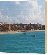 The Beach At Playa Del Carmen Wood Print