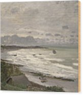 The Beach At Sainte Adresse Wood Print by Claude Monet