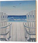 The Beach Chairs Wood Print