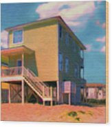 The Beach House Wood Print