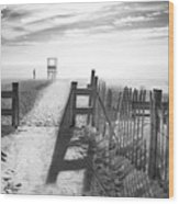 The Beach In Black And White Wood Print