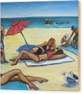 The Beach Wood Print by Valerie Vescovi