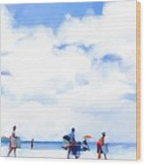 The Beachgoers Wood Print