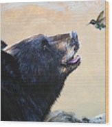 The Bear And The Hummingbird Wood Print