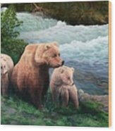 The Bears Of Katmai Wood Print