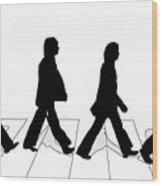 The Beatles Abbey Road Silhouette Drawing Wood Print