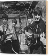 The Beatles In London 1963 Black And White Painting Wood Print