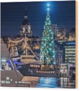 The Beautiful, Freshly Renovated Katarina Church And The Gigantic Christmas Tree In Stockholm Wood Print