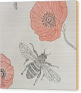 The Bee And Red Poppies  Wood Print