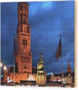 The Belfort Tower, Belfry, Bruges City, West Flanders Wood Print