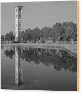 The Bell Tower Reflections B W Furman University Greenville South Carolina Art Wood Print