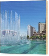 The Bellagio Fountains In Front Of The Eiffel Tower 2 To 1 Ratio Wood Print