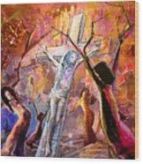 The Bible Crucifixion Wood Print