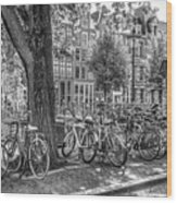 The Bicycles Of Amsterdam In Black And White Wood Print