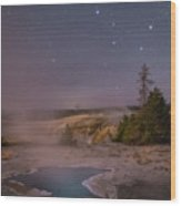 The Big Dipper In Yellowstone National Park Wood Print