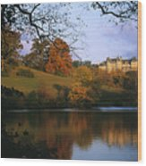 The Biltmore Estate Is Reflected Wood Print by Melissa Farlow
