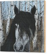 The Birch Horse Wood Print