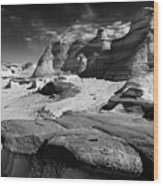 The Bisti Badlands - New Mexico - Black And White Wood Print