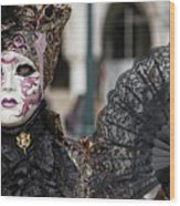 The Black Fan Wood Print
