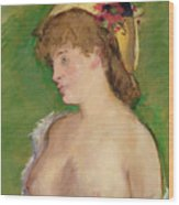 The Blonde With Bare Breasts Wood Print