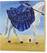 The Blue And The White - Princess Starliyah Riding Candis Wood Print
