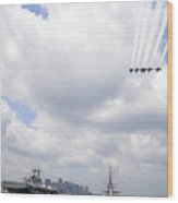 The Blue Angels Flying Over Uss Constitution Wood Print