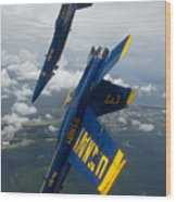 The Blue Angels Over Pensacola Beach Wood Print