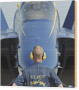 the Blue Angels waits for a signal from his pilot  Wood Print