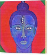 The Blue Buddha Wood Print