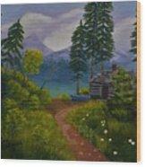 The Blue Canoe Wood Print