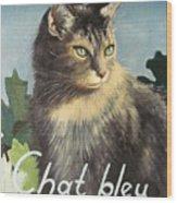 The Blue Cat Wood Print