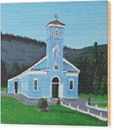 The Blue Church Wood Print