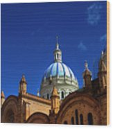 The Blue Domes Of Cuenca, Ecuador Wood Print