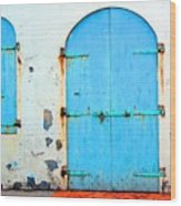 The Blue Door Shutters Wood Print