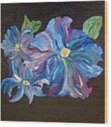 The Blue Flowers Wood Print