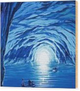 The Blue Grotto In Capri By Mcbride Angus  Wood Print by Angus McBride