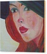 The Blue Hat Wood Print