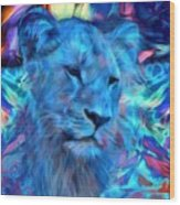 The Blue Lioness Wood Print
