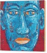 Contemplative Blue Wood Print