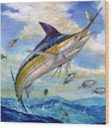 The Blue Marlin Leaping To Eat Wood Print by Terry  Fox