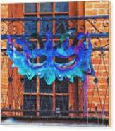 The Blue Mask Wood Print