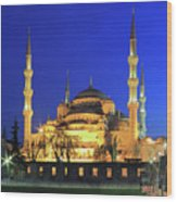The Blue Mosque At Night Istanbul Turkey Wood Print